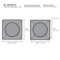 "AC Infinity White Ventilation Grill 6"", for PC Computer AV Electronic Cabinets, replacement grill for AIRPLATE S3/T3"
