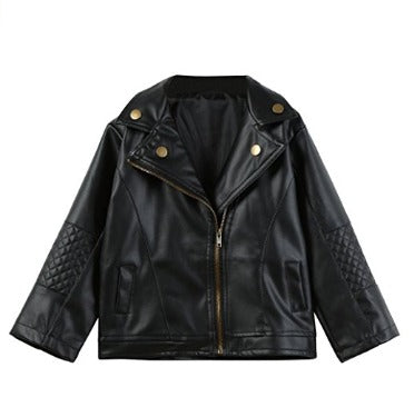 Konfa Girls Boys Stylish Faux Leather Short Jacket
