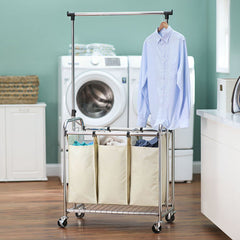 3-Bag Laundry Sorter with Clothes Rack by Household Essentials