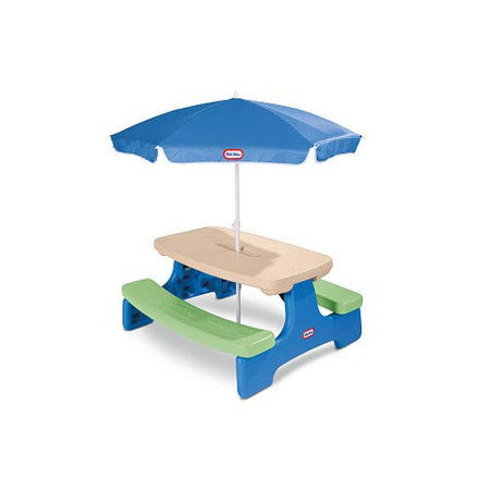 Easy Store Picnic Table with Blue Umbrella