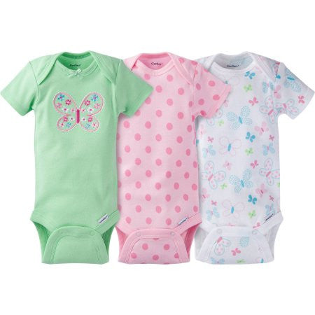 Gerber Newborn Baby Girl Onesies Bodysuits Assorted, 3-Pack