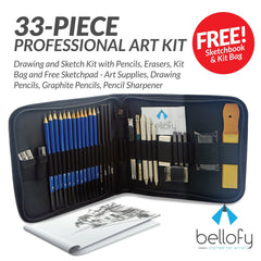 33-piece Professional Art Kit - Drawing and Sketch Kit with Pencils, Erasers, Kit Bag and Free Sketchpad