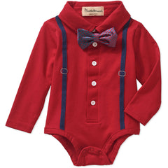 Beetle & Thread Newborn Baby Boys' Collared Bodysuit with Suspenders and Bowtie