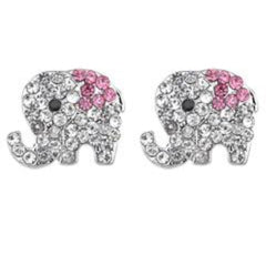 Alilang Silvery Tone Clear Crystal Colored Rhinestones Baby Elephant Stud Earrings