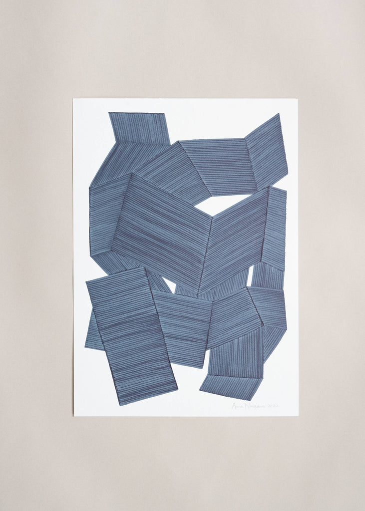 "Anna Norrgrann ""Rhythm"" pale blue graphic drawing."