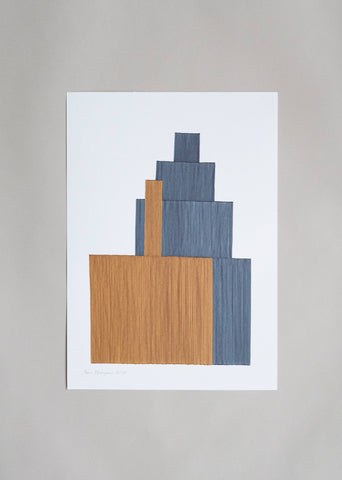 "Anna Norrgrann ""Rhythm"" light brown and pale blue graphic drawing."