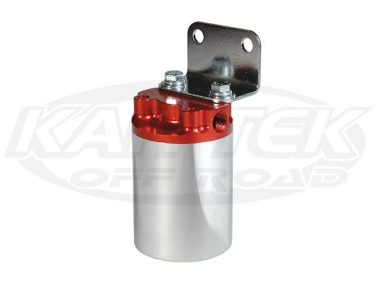 "12318 - 100 Micron, 3/8"" NPT Red/Polished Canister Fuel Filter 6.125Ó tall x 3.75Ó diameter"