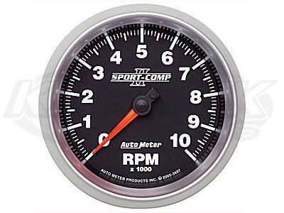 "Sport-Comp II 3-3/8"" In-Dash Tachometer 10,000 RPM"