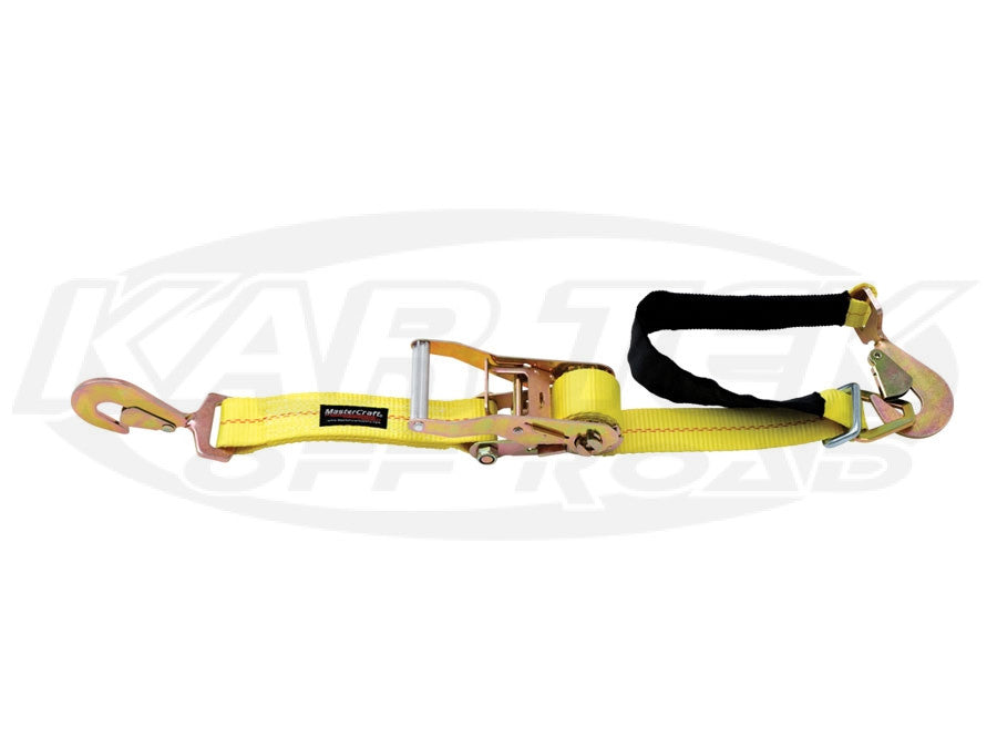 "MasterCraft 2"" x 8' Ratchet Tiedown w/ Axle Strap Yellow"