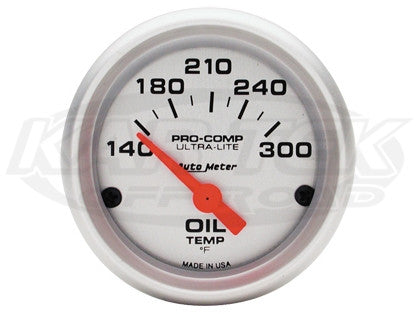 "Ultra-Lite 2-1/16"" Short Sweep Electric Gauges Oil Temperature 140_F - 300_F"