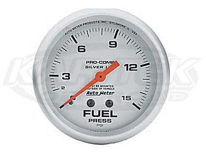 "Ultra-Lite 2-5/8"" Liquid Filled Full Sweep Mechanical Gauges Fuel Pressure 0-100 PSI"