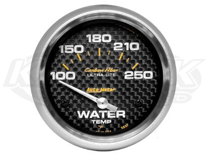"Carbon Fiber 2-5/8"" Short Sweep Electric Gauges Oil Temperature 140_F - 300_F"