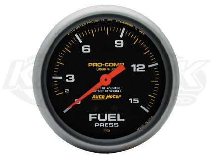 "Pro-Comp 2-5/8"" Liquid Filled Full Sweep Mechanical Gauges Fuel Pressure 0-15 PSI w/ Isolator"