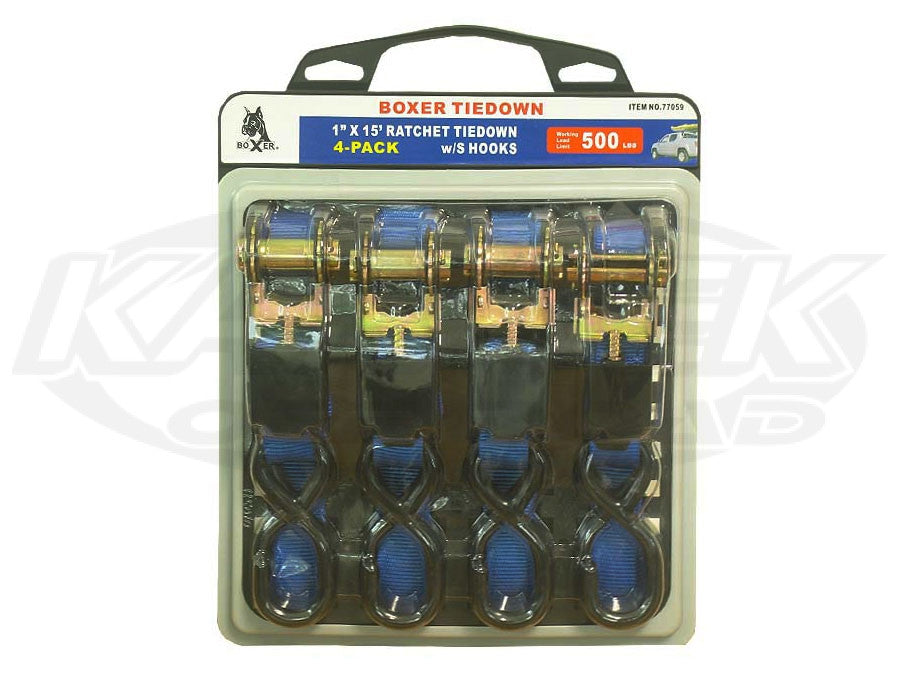 "Boxer 1"" x 15' Ratchet Tiedown 4 Pack Blue"