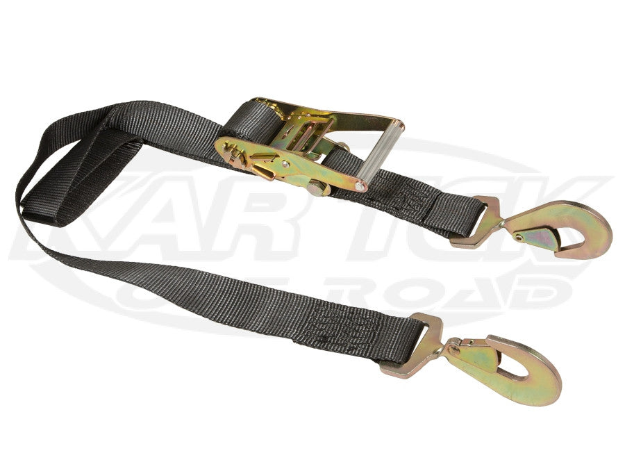 "Boxer 2"" x 9' Ratchet Tiedown w/ Twisted Snap Hooks Black"