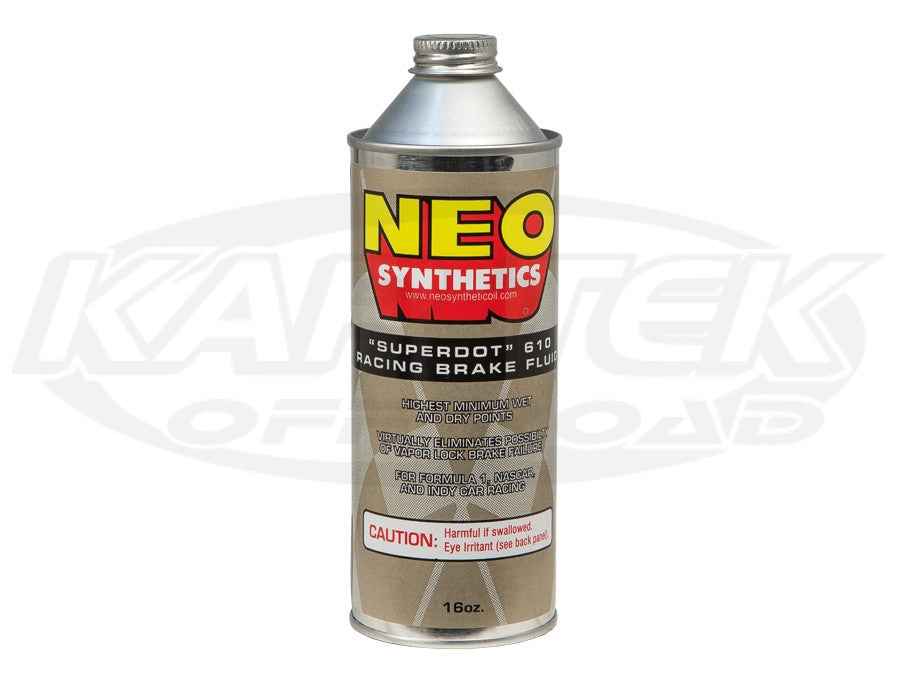 Neo Synthetics DOT 4 Super DOT 610 Brake Fluid 16 oz. Typical Boiling Points 421 Degrees Wet 598 Dry