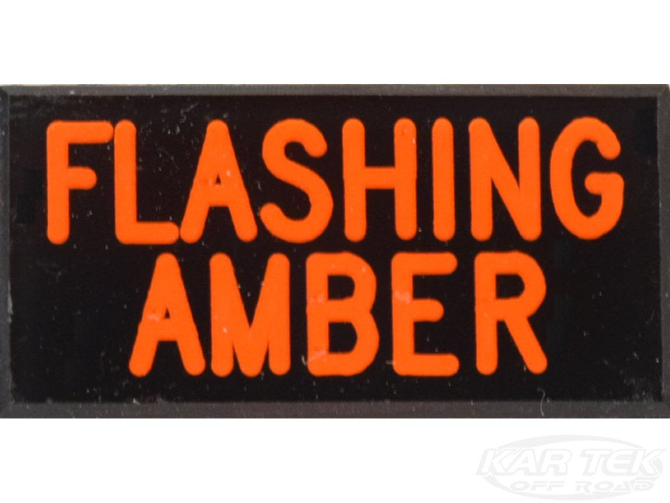 FLASHING AMBER Dash Badge Self Adhesive ID Label For Your Indicator Lights Or Switches