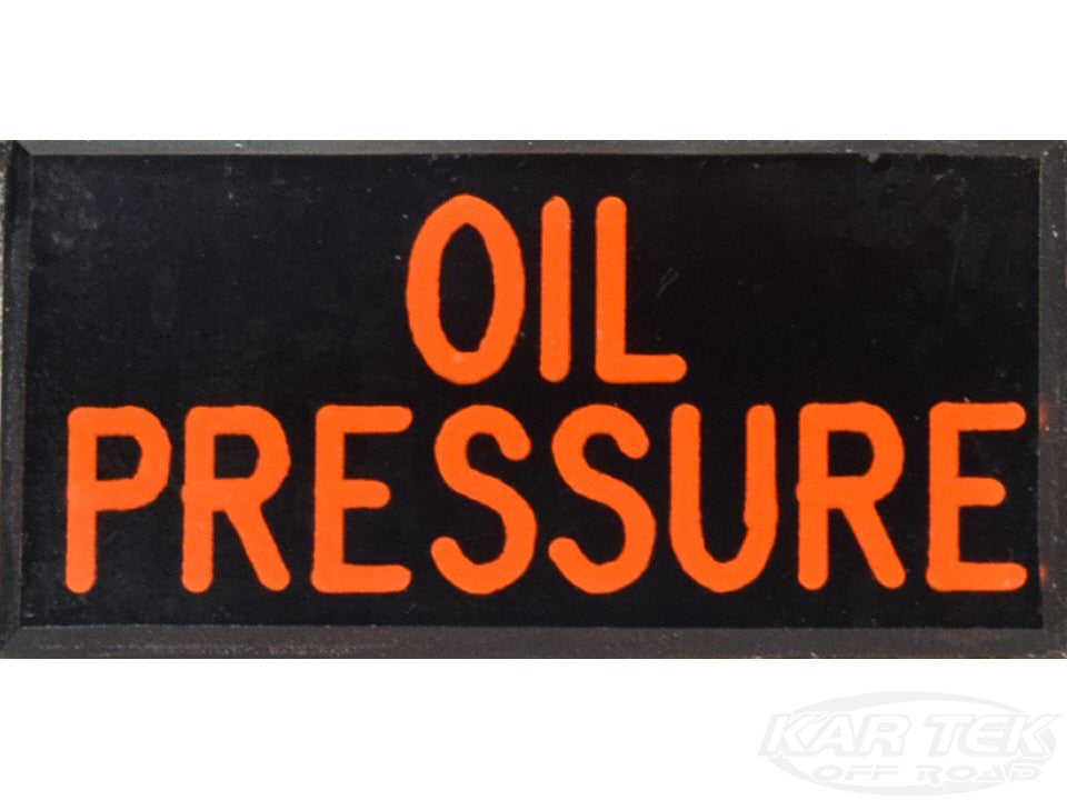 OIL PRESSURE Dash Badge Self Adhesive ID Label For Your Indicator Lights Or Switches