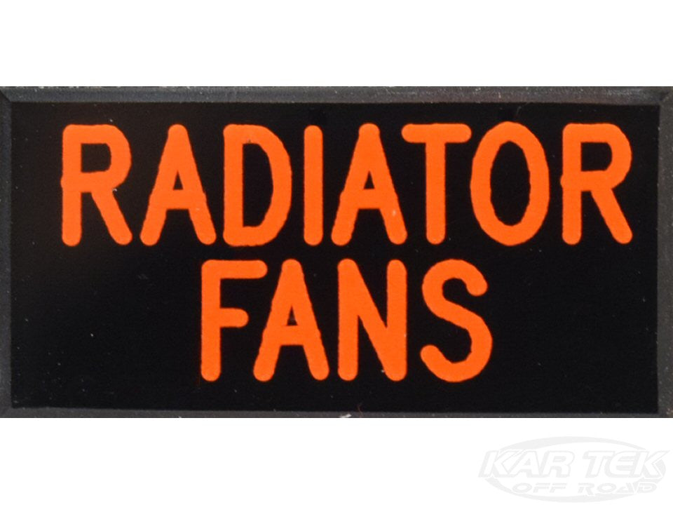 RADIATOR FANS Dash Badge Self Adhesive ID Label For Your Indicator Lights Or Switches