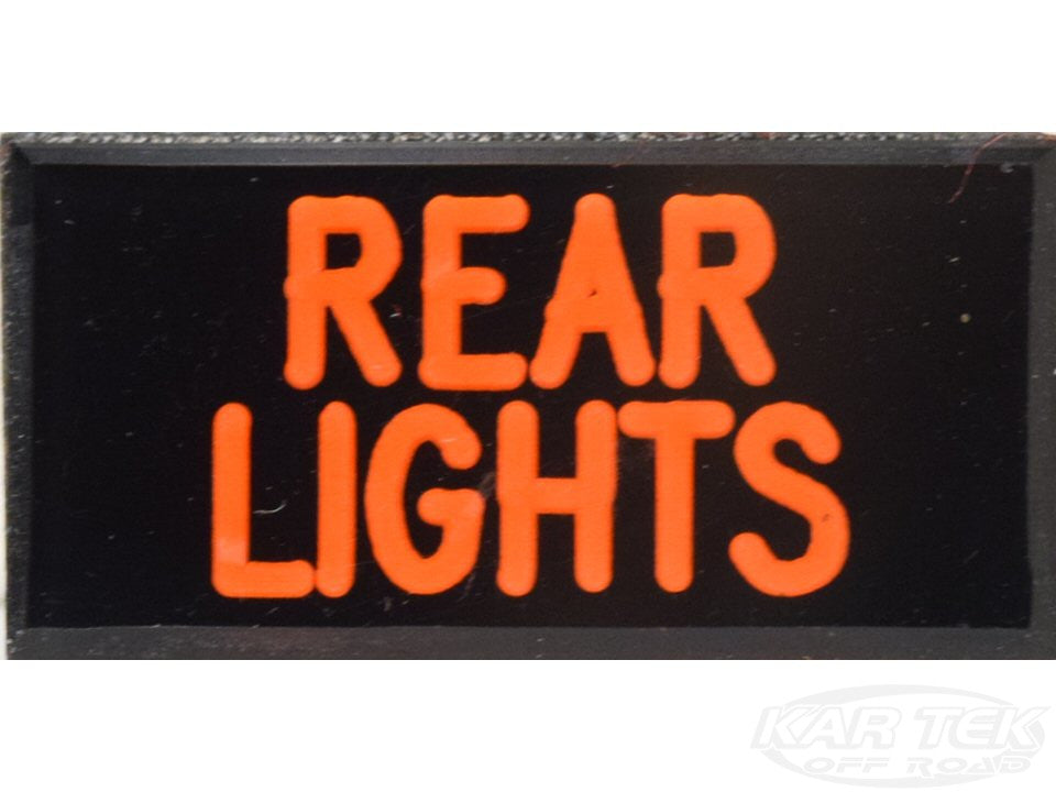 REAR LIGHTS Dash Badge Self Adhesive ID Label For Your Indicator Lights Or Switches