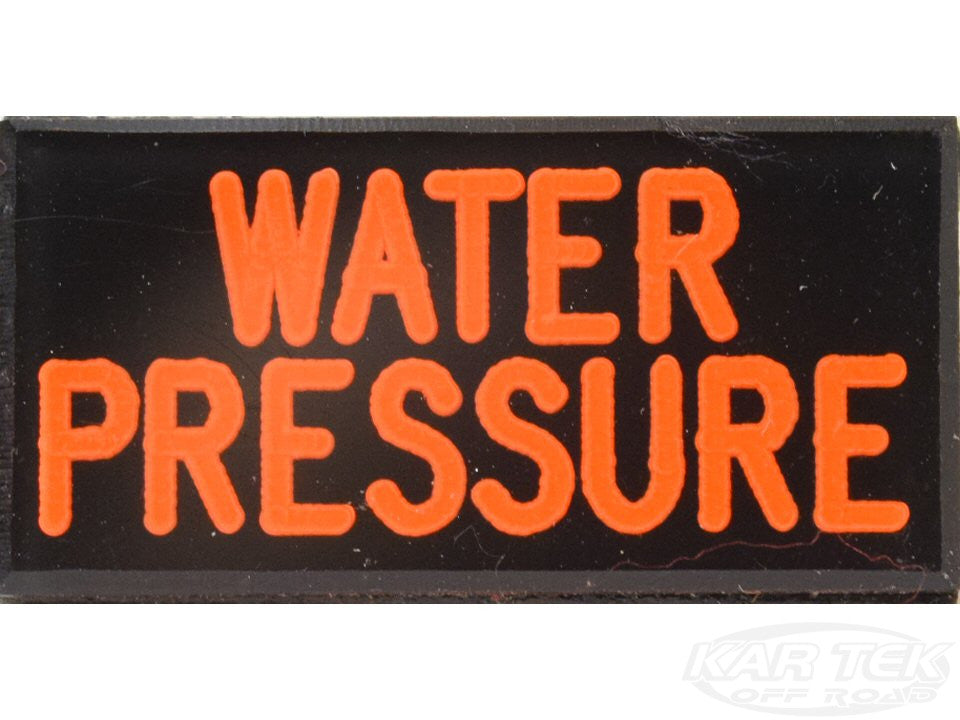WATER PRESSURE Dash Badge Self Adhesive ID Label For Your Indicator Lights Or Switches