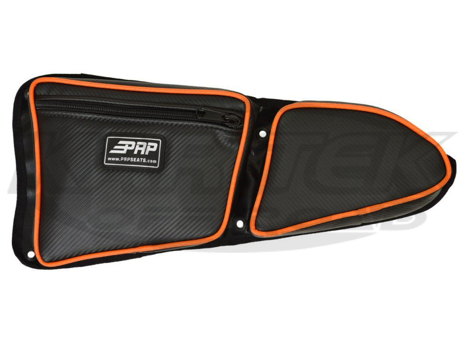 PRP Driver Side Polaris RZR XP1000, 900XC and S900 Stock Door Bag With Knee Pad And Orange Piping