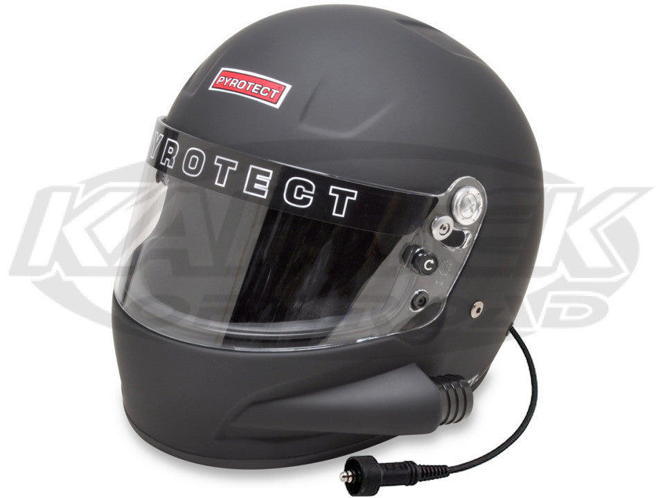 Pyrotect Small Pro Airflow Side Forced Air SA2015 Flat Black Helmet Wired For Race Radio