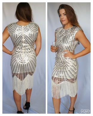 Showstopper. Gold Sequin Dress with Tassel finish - justselfish