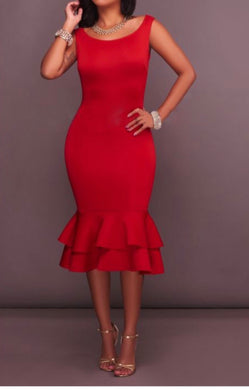 Red Calf length Dress with Ruffle Hem - justselfish