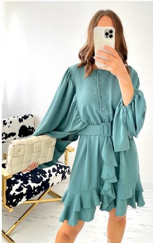 Mona Teal Ruffle Dress