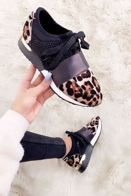 Leopard Faux Suede Embellished Trainers