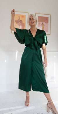 Thelma Culotte Green Jumpsuit