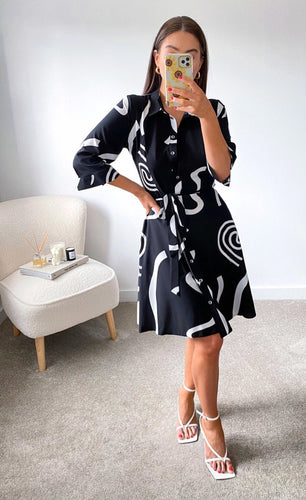 Black Swirl Tie Waist Shirt Dress