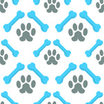 Dog Fabric, Bones and Paws Blue 702