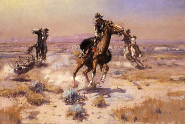 Western Fabric, Cowboys Roping a Wolf Fabric, Charles Russell Painting 1164 - Beautiful Quilt