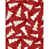 Christmas Fabric, Frosted Holiday, Whimsical Christmas Tree Fabric Red 5782 - Beautiful Quilt