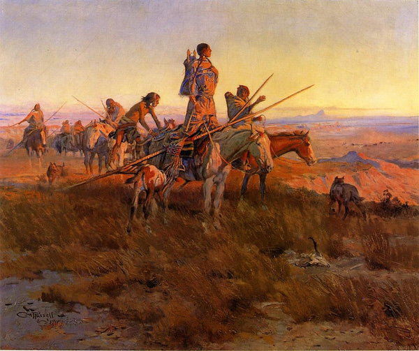 Western Fabric, Native American Tribe on the Move, by Charles Russell 1165