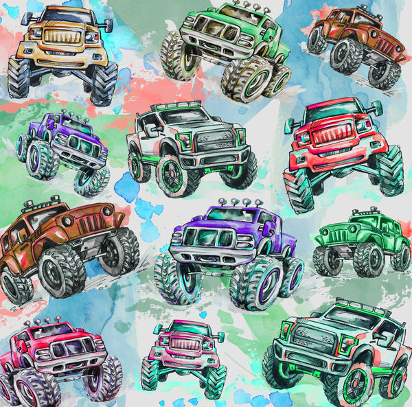 Car Fabric, Custom Print Fabric, Whimsical 4 x 4 Truck Green 7214 - Beautiful Quilt