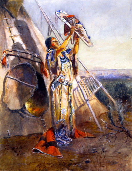Western Fabric, Native American Fabric, Woman by Charles Russell 1183
