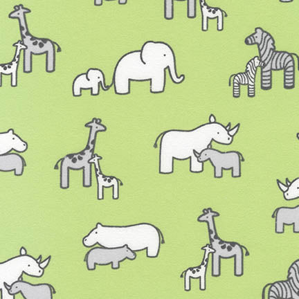Flannel Fabric Childrens Fabric Little Safari Elephants Grn 5612