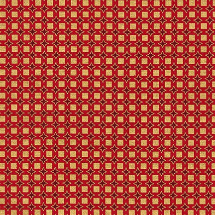 Christmas Fabric, Winters Grandeur, Geometric Squares Red 5061 - Beautiful Quilt