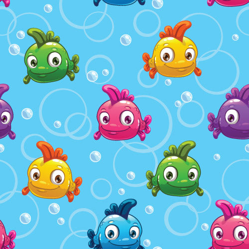 Childrens Fabric,  Whimsical Fish Fabric, Blue, Cotton or Fleece 5593 - Beautiful Quilt