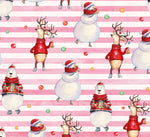 Novelty Christmas Fabric, Reindeer and Snowman Fabric 1294 - Beautiful Quilt