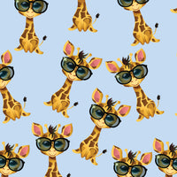 Children's Fabric, Giraffe Fabric with Glasses on Blue, Cotton or Fleece 1307