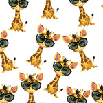 Children's Fabric, Giraffe Fabric with Glasses on White , Cotton or Fleece 1308 - Beautiful Quilt