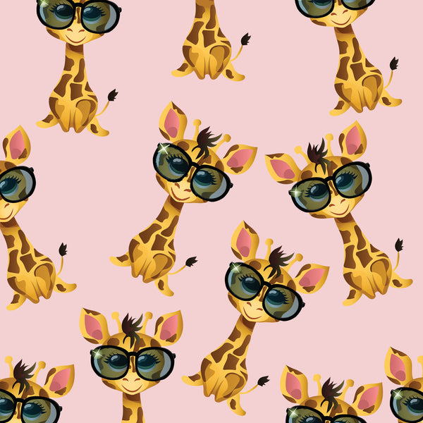 Children's Fabric, Giraffe Fabric with Glasses on pink , Cotton or Fleece 1309 - Beautiful Quilt