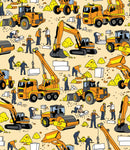 Children's Fabric, Construction Fabric, Whimsical Heavy Equipment Trucks, Cotton or Fleece 7126 - Beautiful Quilt