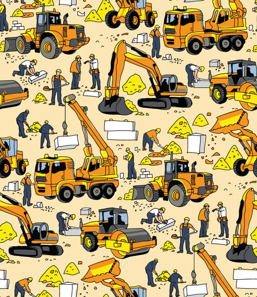 Children's Fabric, Construction Fabric, Whimsical Heavy Equipment Trucks 7126