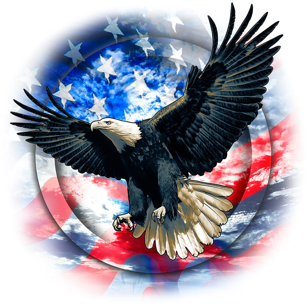 Patriotic Fabric, Eagle Fabric with flag background 1545 - Beautiful Quilt