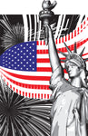Patriotic Fabric Statue of Liberty, flag with black & white 5750